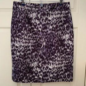 J. Crew purple and cream pencil skirt